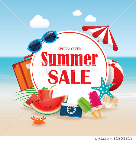summer sale background banner design template のイラスト素材