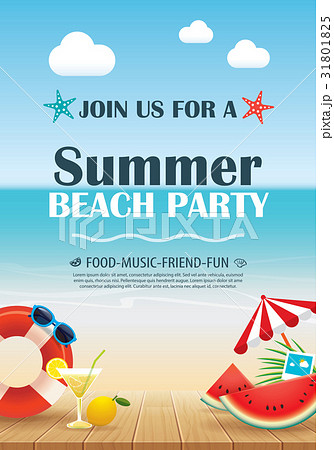 beach party invitation poster with summerのイラスト素材 31801825