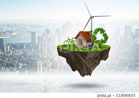 Flying floating island in green energy concept - 31806605