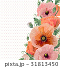Flower wreath of pink peach poppy flowers, buttons 31813450