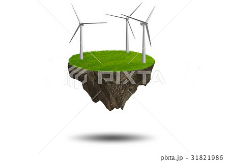 Flying floating island in green energy concept - 31821986