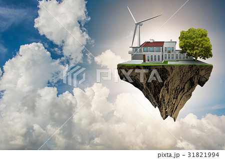 Flying floating island in green energy concept - 31821994