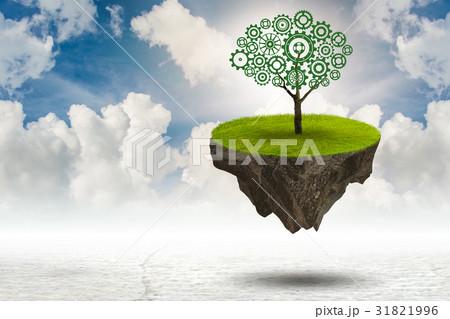 Single tree on floating island - 3d rendering 31821996