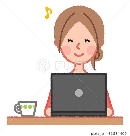 笑顔の女性とPC 31834406