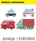 働く車のイラスト|パトカー・救急車・消防車・トレーラー 31854642