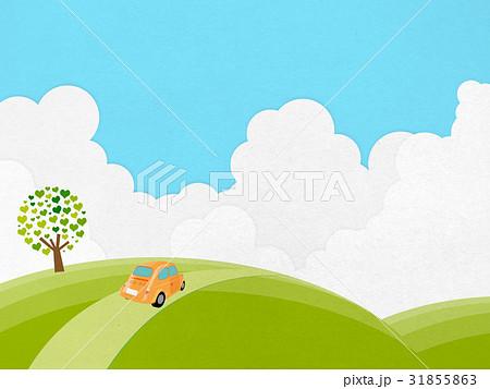 小高い丘を走るヴィンテージカー (紙のテクスチャー入り) 31855863