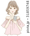 スマホを持った女性(ピンク) 31859748