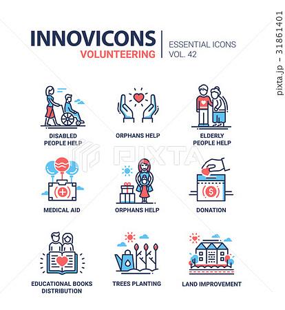 Volunteering - modern vector line design icons set 31861401