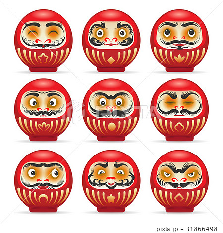 Red daruma japanese dolls set 31866498