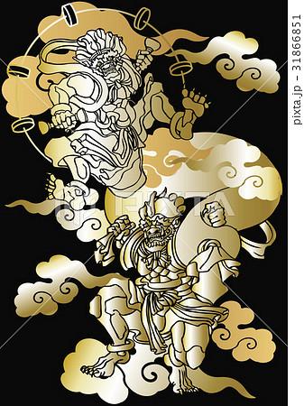 和柄 風神雷神図 のイラスト素材 31866851 Pixta