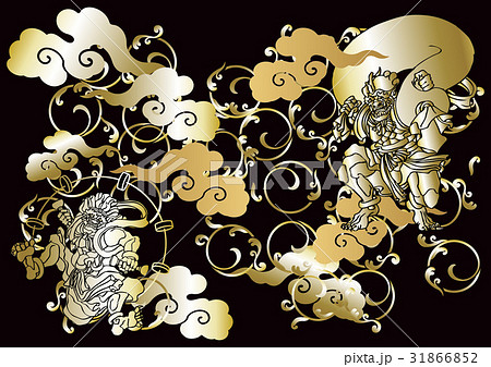 和柄 風神雷神図 のイラスト素材 31866852 Pixta