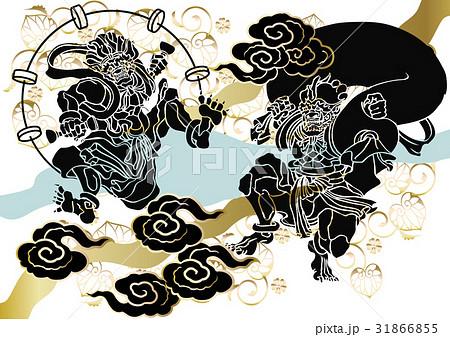 和柄 風神雷神図 のイラスト素材 31866855 Pixta