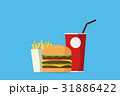 burger with drinks and french fries 31886422
