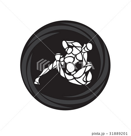 MMA fighters round pictogram or logo. Boxing icon 31889201