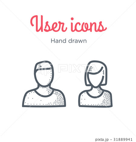 user icons set male and female hand drawnのイラスト素材 31889941