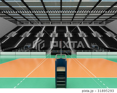 Beautiful modern volleyball arena with black seats 31895293