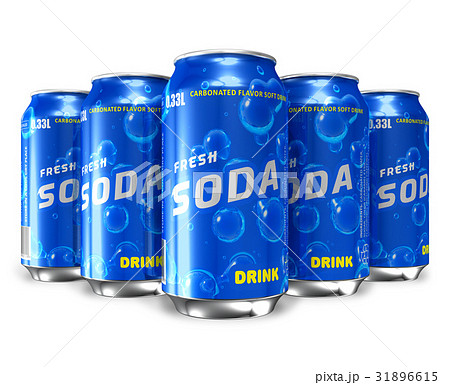 Set of refreshing soda drinks in metal cans 31896615