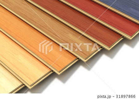 Set of color wooden laminated construction planks 31897866