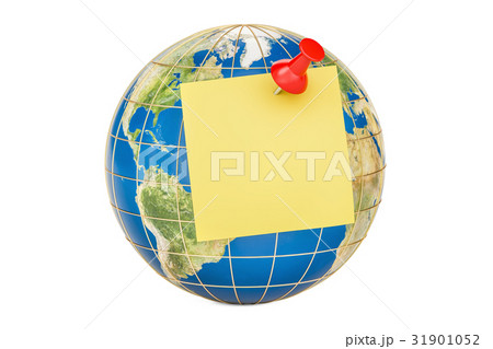 Push pin with blank yellow sticky note on globeのイラスト素材 [31901052] - PIXTA