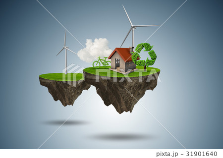 Flying floating island in green energy concept - 31901640