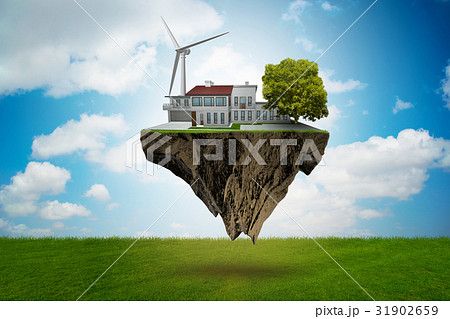 Flying floating island in green energy concept - 31902659