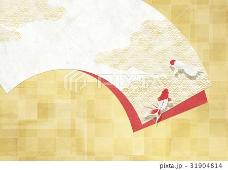 和を感じる背景素材(扇、金箔、金魚) 31904814