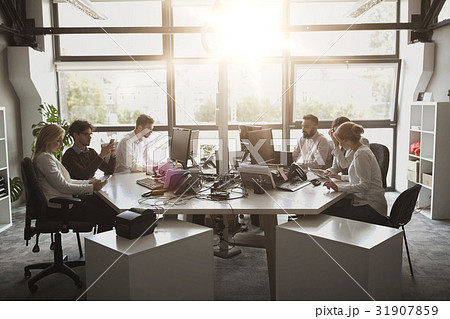 business team with computers working at officeの写真素材 31907859