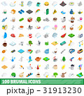 100 brumal icons set, isometric 3d style 31913230