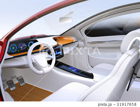 自動運転EV車のインパネのイメージ。木目調のトレイにワイヤレス充電ユニット搭載。オリジナルデザイン。 31917658