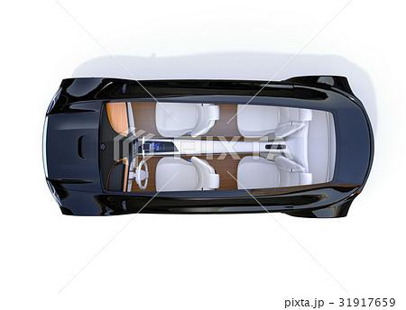メタリックブラック色の電気自動車の俯瞰イメージ 31917659
