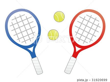 テニスのラケットとボール(青と赤) 31920699