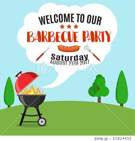 invitation card on the barbecue のイラスト素材 31924452 pixta