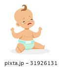 Adorable little baby sitting and crying, colorful 31926131