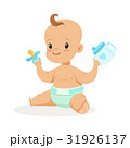 Sweet little baby sitting and playing with spout 31926137