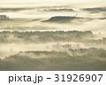 朝日に染まる霧 31926907