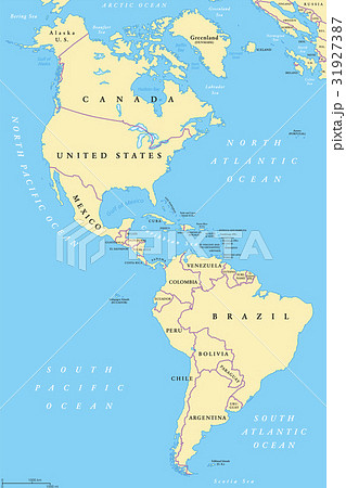the americas north and south america mapのイラスト素材 31927387