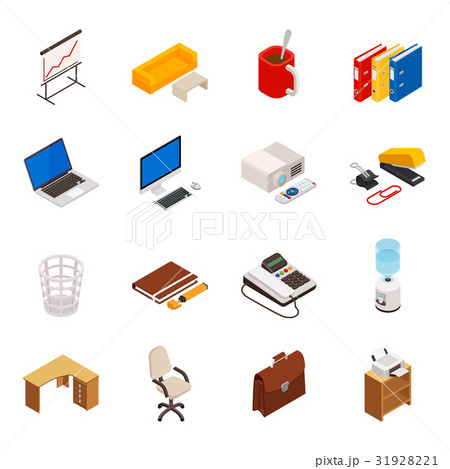 isometric of icons on a theme of office equipmentのイラスト素材 [31928221] - PIXTA