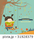 Cute girl swinging and reading a book in autumn 31928379