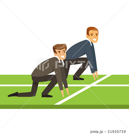 business people at starting line on a raceのイラスト素材 31930739