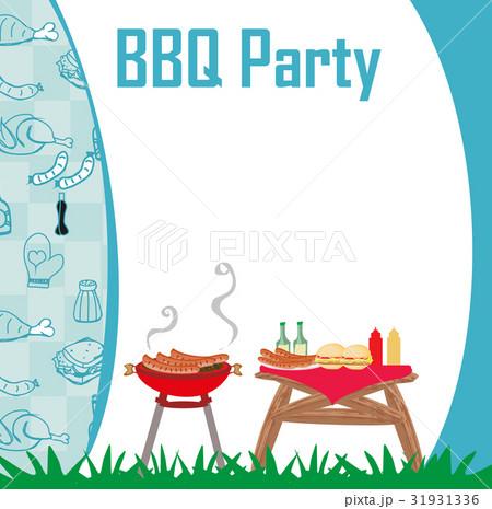 barbecue party menu card invitationのイラスト素材 31931336 pixta