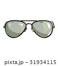 Hand drawn aviator sunglasses in metal frame with 31934115