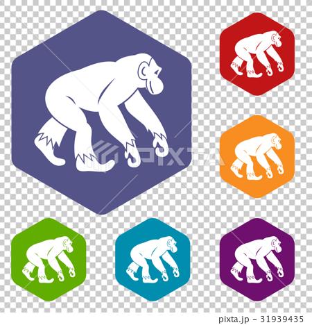 Monkey standing icons set hexagon 31939435