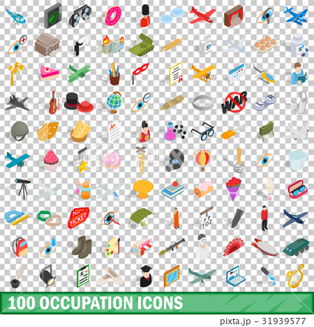 100 occupation icons set, isometric 3d style 31939577