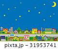 住宅地の家の並び(夜空に三日月と星) 31953741