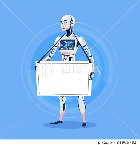 Modern Robot Holding Empty Banner Futuristic 31966782