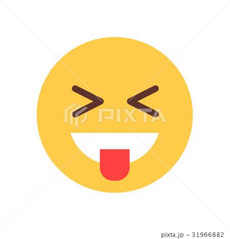 yellow smiling cartoon face laughing emoji peopleのイラスト素材