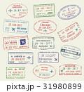 Vector icons travel city passport stamp USA Canada 31980899