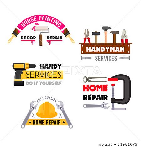 House repair vector icons of handyman work tools 31981079