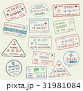 Vector icons of world travel city passport stamps 31981084