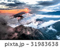 高山的日落,雲海和霞光,合歡山,台灣.Mountain sunset, sea of clouds  31983638
